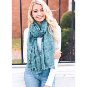 Accessories - Teal Tassel Scarf